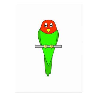 Parakeet Cartoon. Bird on a perch. Postcard