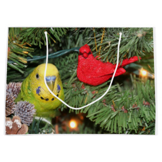 Parakeet Christmas Large Gift Bag