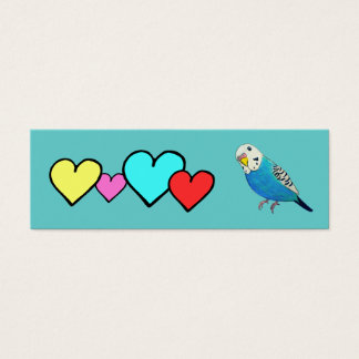 Parakeet Drawing with Hearts Mini Business Card
