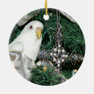Parakeet in a Christmas tree Ceramic Ornament