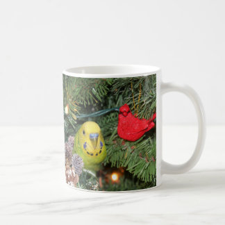 Parakeet in a Christmas tree Coffee Mug