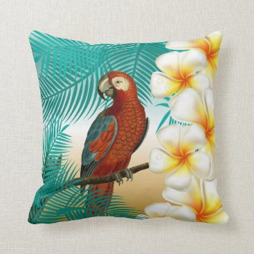 Beach Themed Parakeet on a Tropical Beach Design Throw Pillow