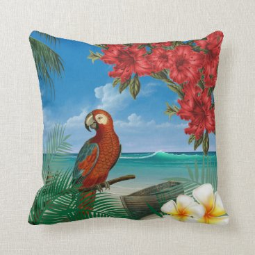 Beach Themed Parakeet on a Tropical Ocean Design Throw Pillow
