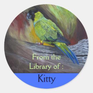 Parakeet Portrait Art Custom Bookplate sticker