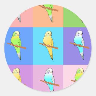 Parakeet Rainbow Rectangles Classic Round Sticker