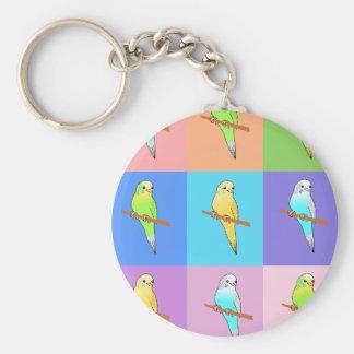 Parakeet Rainbow Rectangles Key Chain
