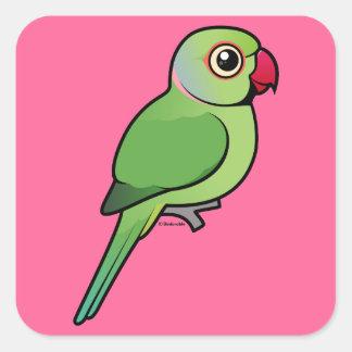 Parakeet Rosa-anillado Pegatina Cuadradas