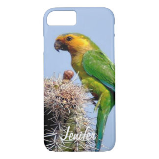 parakeet standing on a cactus iPhone 7 case