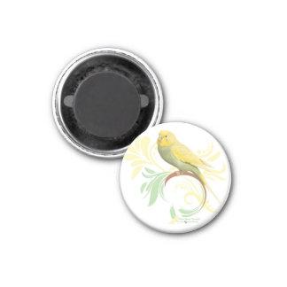 Parakeet verde en colores pastel imán redondo 3 cm
