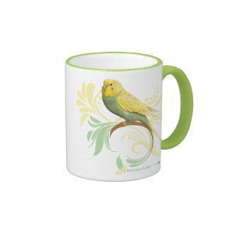 Parakeet verde en colores pastel taza a dos colores