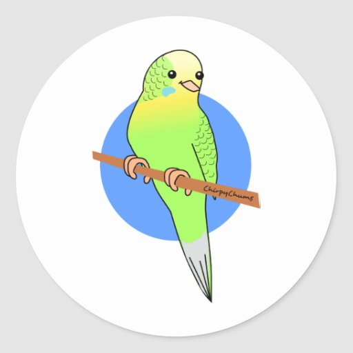 Parakeet verde lindo etiqueta redonda