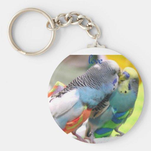 Parakeets, amor llavero redondo tipo pin