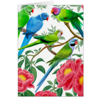 Parakeets and Peonies Card