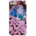 Parakeets cariñosos y flores rosadas funda de iPhone 6 slim