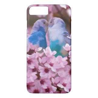 Parakeets cariñosos y flores rosadas funda iPhone 7 plus