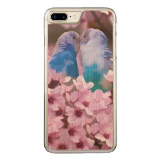 Parakeets cariñosos y flores rosadas funda para iPhone 7