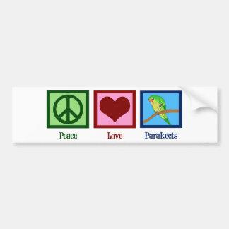 Parakeets del amor de la paz pegatina para auto