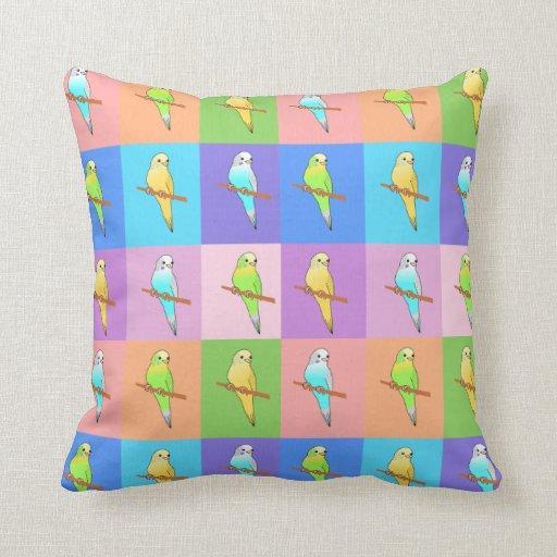 Parakeets en el amortiguador colorido del modelo d almohada