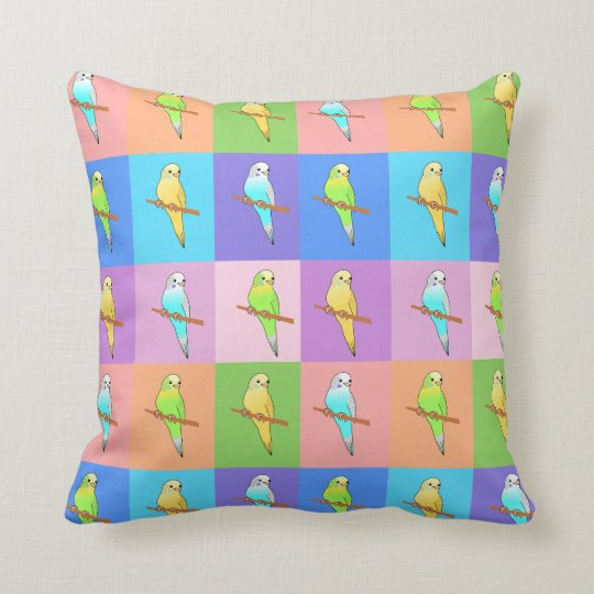 Parakeets in colorful squares Pattern cushion