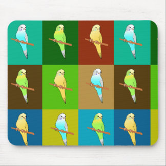 Parakeets in Earthy Colored Tiled pattern Mouse Pads