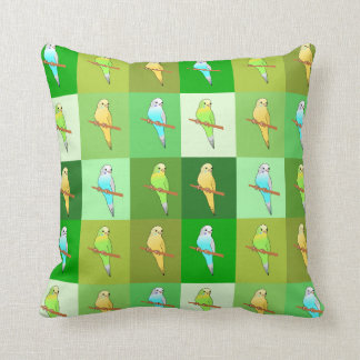 Parakeets in Green  squares Pattern cushion Pillows