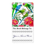 Parakeets in Peonies Bookplate Personalized Shipping Labels