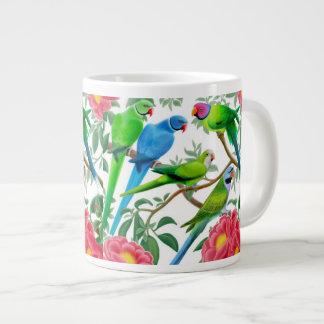 Parakeets in Peonies Jumbo Mug 20 Oz Large Ceramic Coffee Mug
