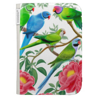 Parakeets in Peonies Kindle Case