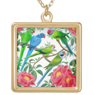 Parakeets in Peonies Necklace