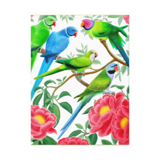 Parakeets in Peonies Wrapped Canvas