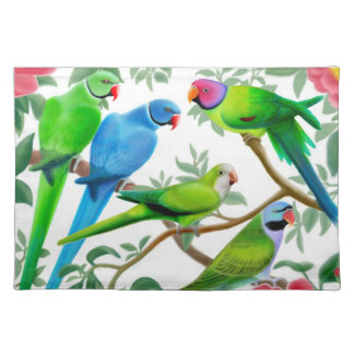 Parakeets in Peony Flowers Placemat