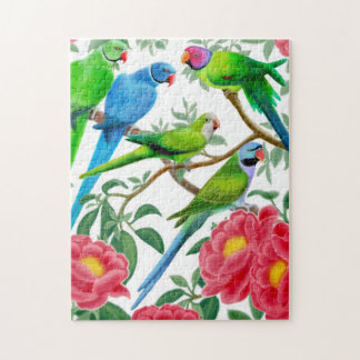 Parakeets in Peony Flowers Puzzle