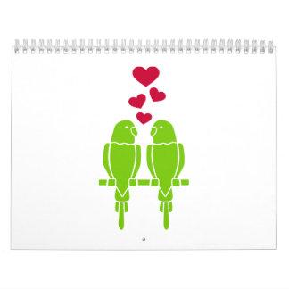 Parakeets love hearts calendar