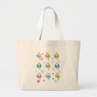 Parakeets & Polka Dots Pattern Canvas Bag