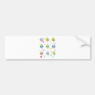 Parakeets Polka Dots Pattern Bumper Sticker