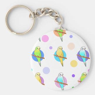 Parakeets & Polka Dots Pattern Key Chain