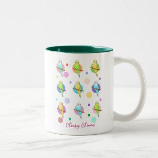 Parakeets & Polka Dots Pattern Two-Tone Coffee Mug