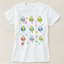 Parakeets & Polka Dots Pattern T-Shirt