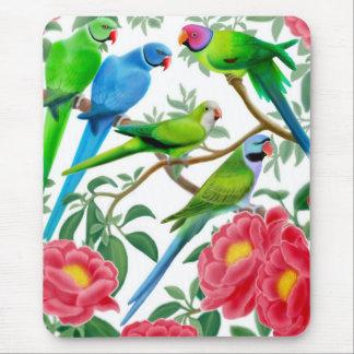 Parakeets y Peonies Mousepad