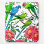 Parakeets y Peonies Mousepad Alfombrillas De Ratones