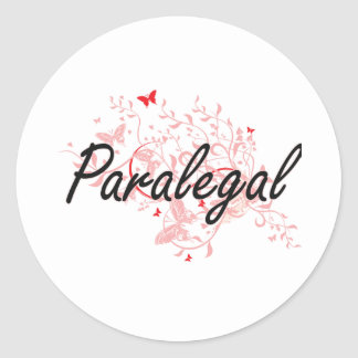 Paralegal Artistic Job Design with Butterflies Classic Round Sticker