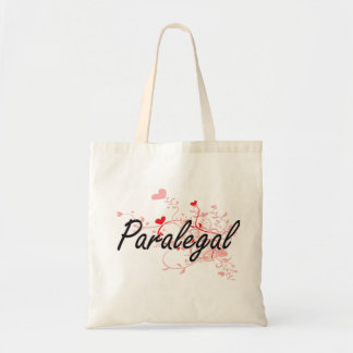 Paralegal Artistic Job Design with Hearts Tote Bag