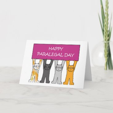 46bac594a Lawyer Themed Paralegal Day Cartoon Cats Card