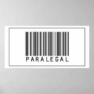 Paralegal del código de barras póster