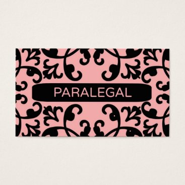 Professional Business Paralegal Peach Damask Business Card