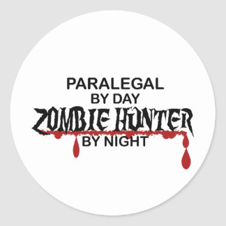 Paralegal Zombie Hunter Classic Round Sticker