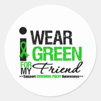 Parálisis cerebral llevo la cinta verde para mi pegatinas redondas