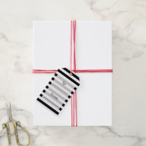 Parallel Lines, Pattern Of Stripes - White Black Gift Tags