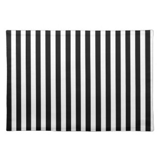 Parallel Lines, Pattern Of Stripes - White Black Placemat
