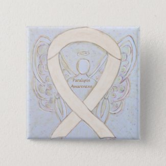 Paralysis Awareness Ribbon Angel Custom Button Pin